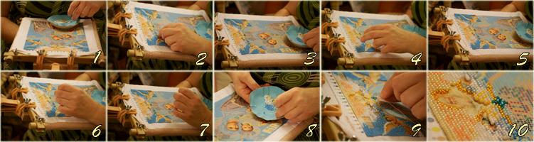 Процесс вышивания бисером.