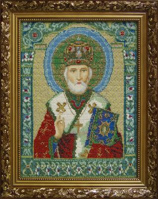 Икона Свт. Николая Чудотворца выполнена по канве с нанесенным рисунком для вышивки крестом. Мелкий бисер подобран самостоятельно. Работа Цветковой Виктории.
